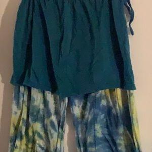 Jayli 🌺 Boho Tie Dye Pants w/Skirt
